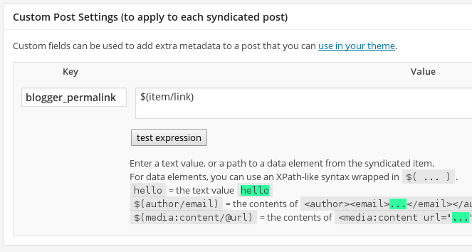 Syndication Custom Post Settings