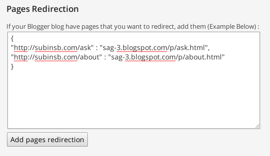 Add Pages For Redirection