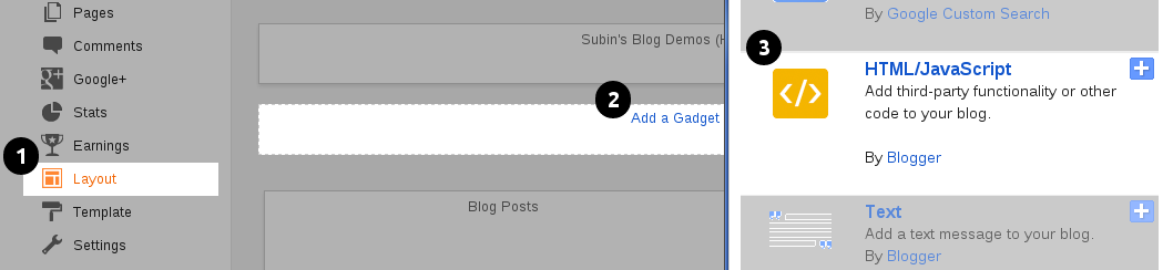 Add HTML/Javascript Widget In Blogger