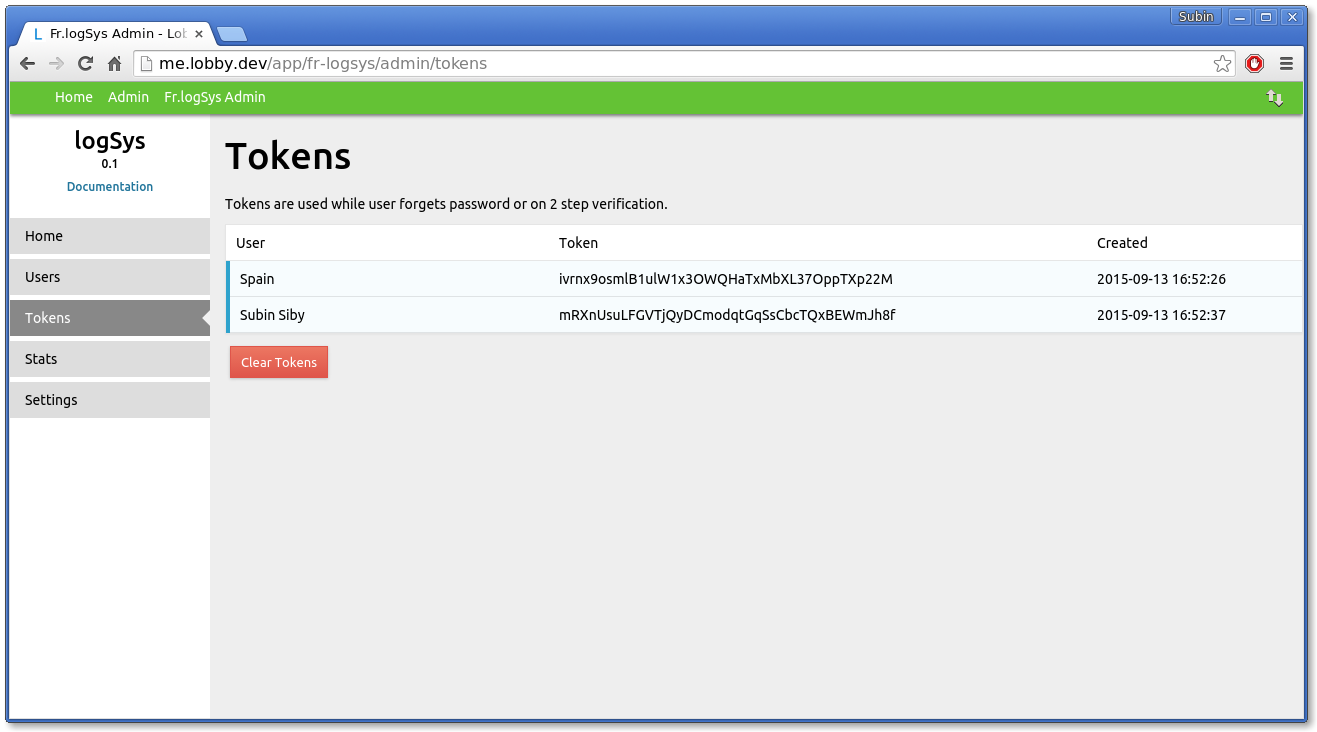 logSys Admin Tokens' Page