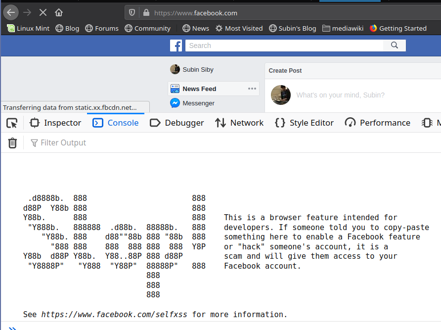 Self-XSS Facebook warning in Firefox Browser console